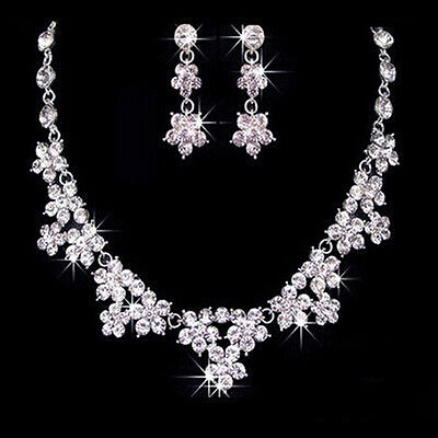 Rhinestone Crystal Necklace Earring Silver Plated Wedding Bridal Jewelry Beauty