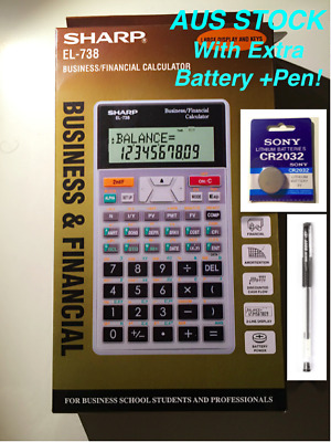 Genuine Sharp Financial Calculator EL-738 +1 Year Warranty +1 Battery +1 Pen