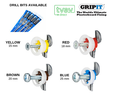 GRIP IT Plasterboard Fixings - Yellow, Red, Brown & Blue - OPTIONAL DRILL BIT