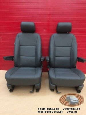 Seats VW T5 GP double front anthracite leather armrests comfort adjustments