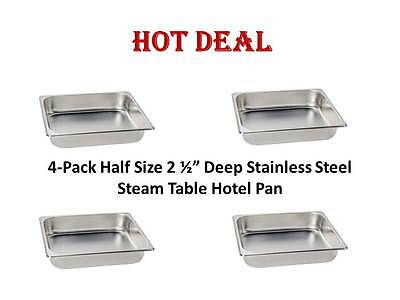 """4-Pack Half Size 2 1/2"""" Deep Stainless Steel Hotel Steam Table Food Pans"""