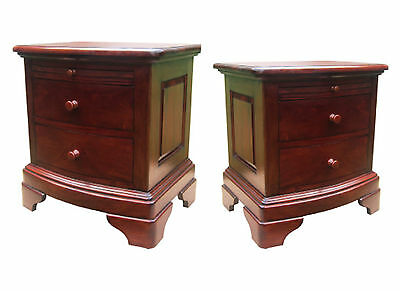 Mahogany  2 Drawer/tray Bedside Cabinet-Large Or Small Size-Solid Wood