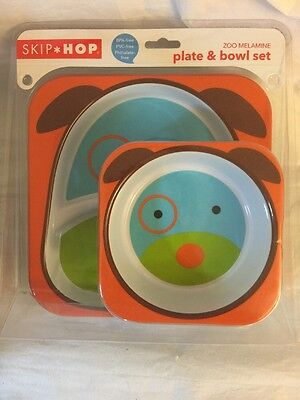 Skip Hop Zoo Melamine Plate and Bowl Set, Dog
