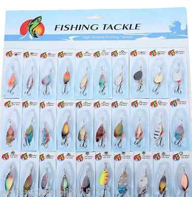 30 pcs Assortiti Metallo Ami Esche Cucchiaini Artificiali Spinnerbaits Hooks