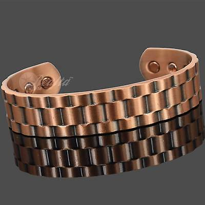 Mens Chunky Solid Copper Magnetic Bracelet Arthritis Magnetic Therapy - RolX
