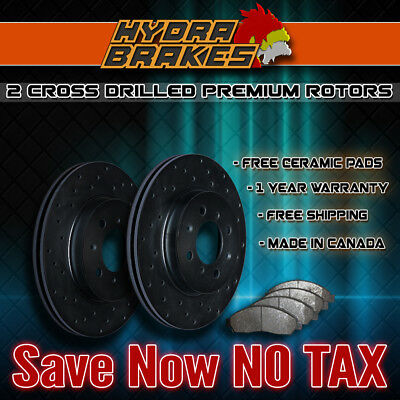 FITS 2009 2010 2011 2012 FORD FUSION Drilled Brake Rotors BLK F