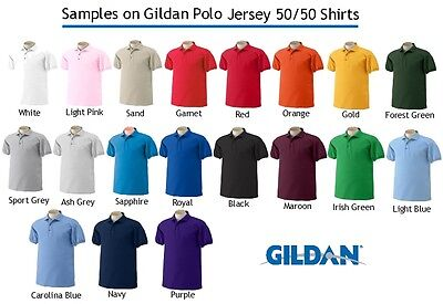 50 Custom Embroidered Dry Blend POLO SHIRTS Embroidery Personalized Free Logo