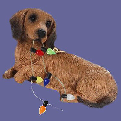 Sandicast Ornament Dachshund Red With Christmas Lights - Ornament