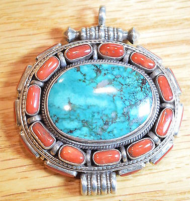 Vintage Sterling Silver Tibetan Coral and Turquoise Pendant with hidden back