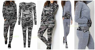 New Womens Camouflage Army Print Ladies Loungewear Set Joggers Tracksuit Pants