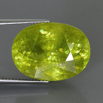 10.76Cts Natural Yellowish Green Sphene Titanite Madagascar Loose Gemstone Oval