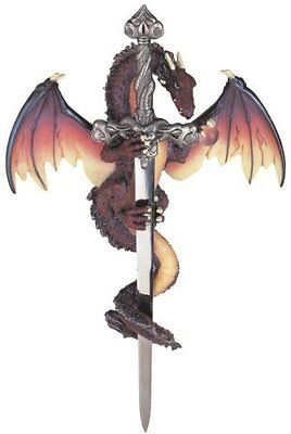 Dragon Collection with Sword Collectible Fantasy Decoration Figurine, New, Free
