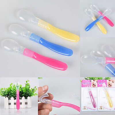 Safe Heat Sensing Thermal Colorful Silicone Toddler Baby Feeding Spoon 3PCS