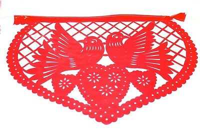 Mexican Bunting Banners Papel Picado Hand Cut Amor Love Theme Red & Pink Hearts