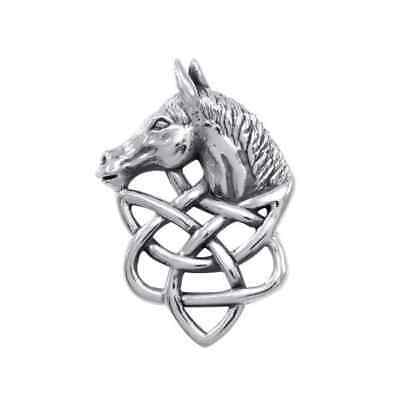 Celtic Knotwork Horse .925 Sterling Silver Pendant by Peter Stone