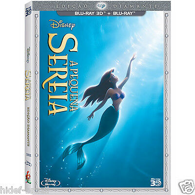 Blu-ray 3D Disney The Little Mermaid Pequena Sereia [English+French+Spanis+Port]