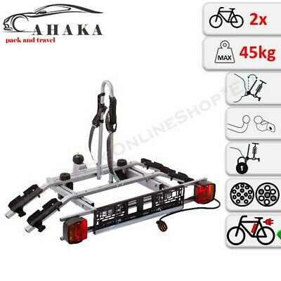 Towbar Mounted Tilting 2 Bike Rack Cycle Carrier Steel Hitch Platform Transport