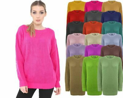 ac1e7f6c39a Ladies Women Knitted Over size Fisherman Baggy Jumper Chunky Long Sweater  TOP