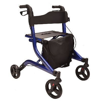 X Fold Lightweight folding 4 wheel rollator walking frame with seat and bag