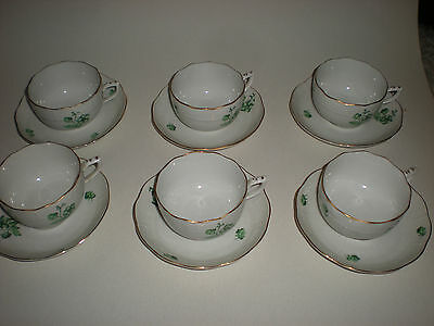 Herend Porcelain Green Flowers Tea Services - 6 persons