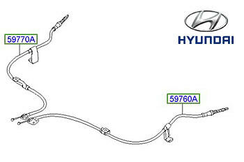 Genuine Hyundai i10 Handbrake Cable, RH - 597700X930