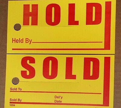1,000 Large hold / sold rear view mirror car tag yellow auto dealer hang tags