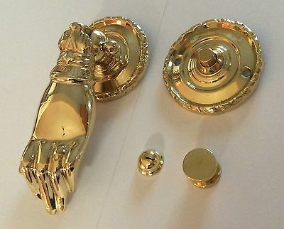 Heavy Victorian Ladies Hand Solid Brass Door Knocker and DoorBell Matching Set