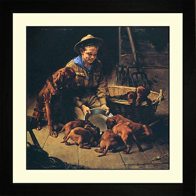 Norman Rockwell GOOD FRIENDS, 1927 Framed Boy Scouts Puppies Wall Hanging Art