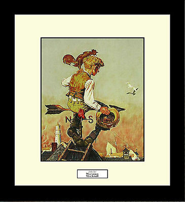 Norman Rockwell UNDER SAIL Framed Boy Weathervane Wall Hanging Art Gift
