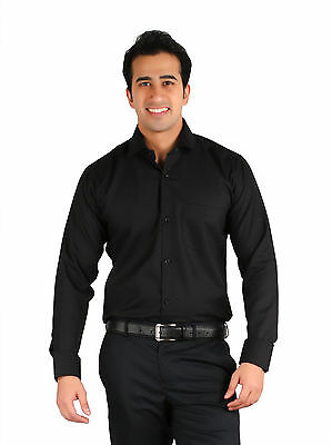 Ambience Men's Formal Solid full-sleeves cotton office wedding Party Shirt Black