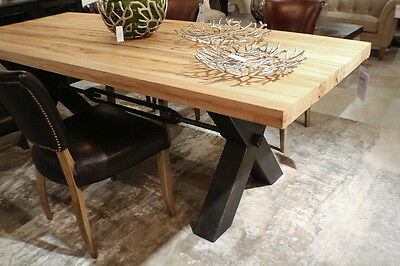 "95"" L Dining table light brown solid oak wood x shape black iron legs beautiful"