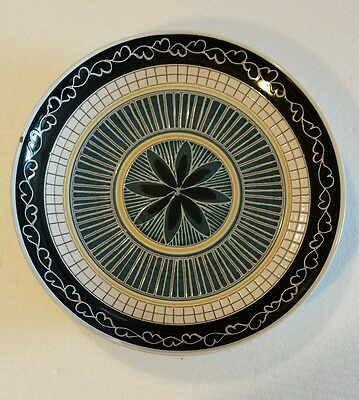 """Mid Century Art Elle Norway Mosaic Artisan Clay Pottery Plate 11.5"""" Hand Signed"""