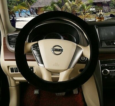 Black Winter Essential Warm Steering Wheel Cover Furry Fluffy Thick Faux Fur Car