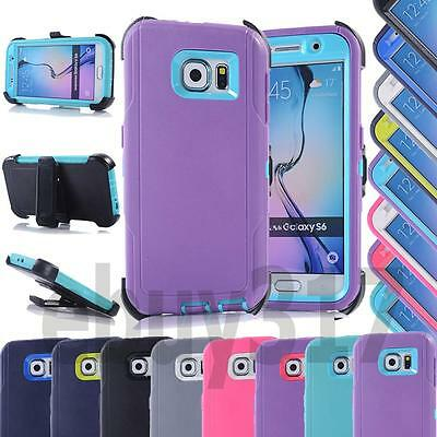 Shockproof Rugged Hybrid TPU Hard Combo Case Cover For Samsung Galaxy S6+Clip