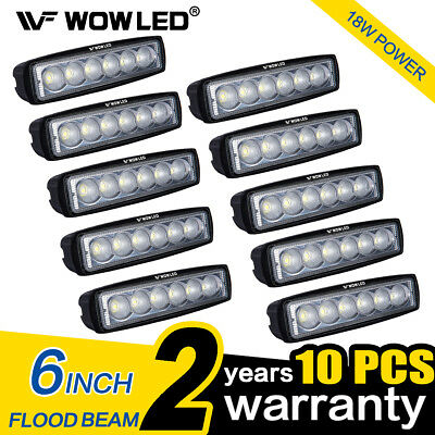 WOW - 10Pcs 18W 6Inch LED Work Light Offroad Driving Flood Camp Bar Lamp 4WD ATV