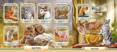 Z08 GB16004ab GUINEA-BISSAU 2016 Cats MNH Set