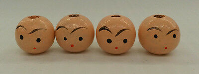 Vintage Light Pink 16mm Wooden Beads with Painted Face