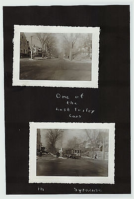 RARE - 2 Snapshot Photos - Last Trolley Car in Syracuse NY ca 1938 - Railroad