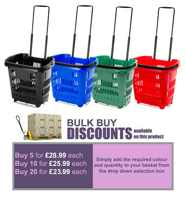 Plastic 34L Rolling Shopping Trolley Basket On Wheels for Shops & Supermarkets