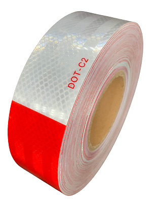 "2""x150' DOT-C2 PREMIUM Reflective Safety Red and White Conspicuity Tape Trailer"