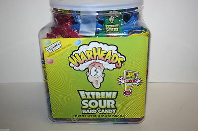 WARHEADS EXTREME SOUR 240 Pieces Assorted Flavours Hard Candy 744g Tub