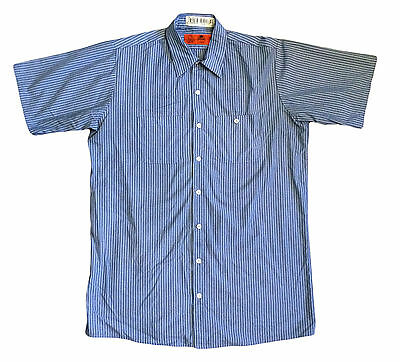 Red Kap Men's Industrial Work Shirt Blue/ White Striped Short Sleeve