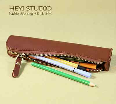 New Brown Real Genuine Leather Zipped Pencil Case