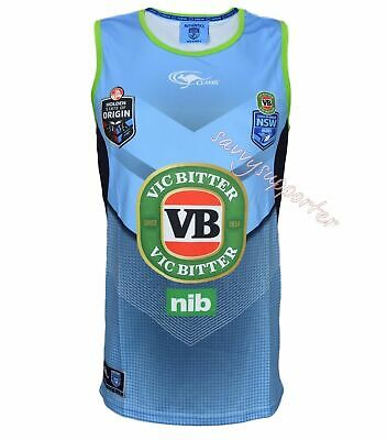 NSW Blues State of Origin NRL Sky Training Singlet 'Select Size' S-5XL