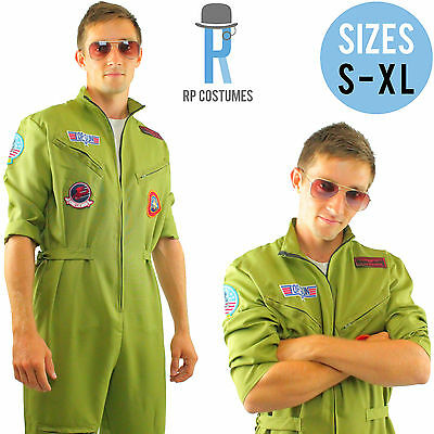 Top Aviator Maverick Pilot Film Costume/Fancy Dress 80's Film Adult/Mens