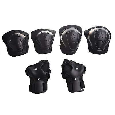 3 Sets Black Plastic Skating Gear Knee Elbow Wrist Support Pads for Child BF