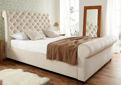 CREAM CHENILLE CHESTERFIELD STYLE BEDSTEAD -  4ft6 DOUBLE CHENILLE BED FRAME