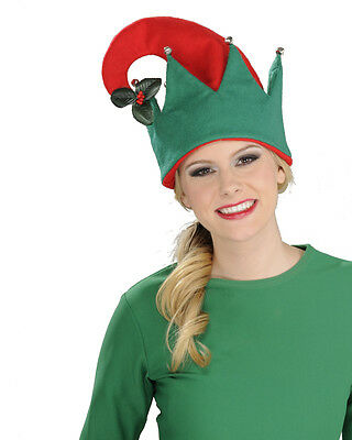 Christmas Red And Green Elf Festive Hat With Mistletoe Costume Accessory
