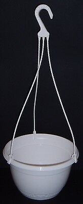 "Pk(2) New White Plastic 10"" Hanging Basket Planters With Hangers"