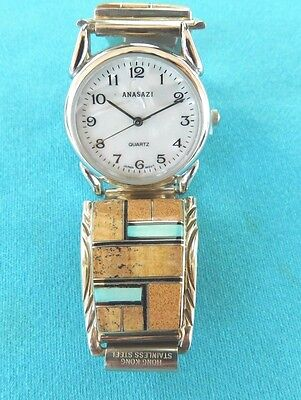 Native American Navajo Jasper And Turquoise Channel Inlay Watch Sterling Silver